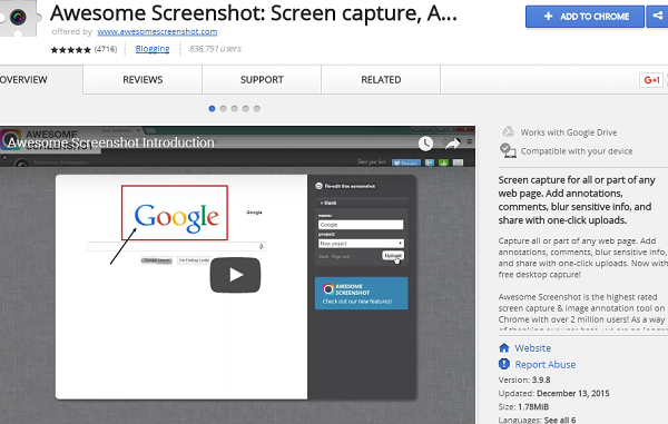 awesome screenshot best chrome extension