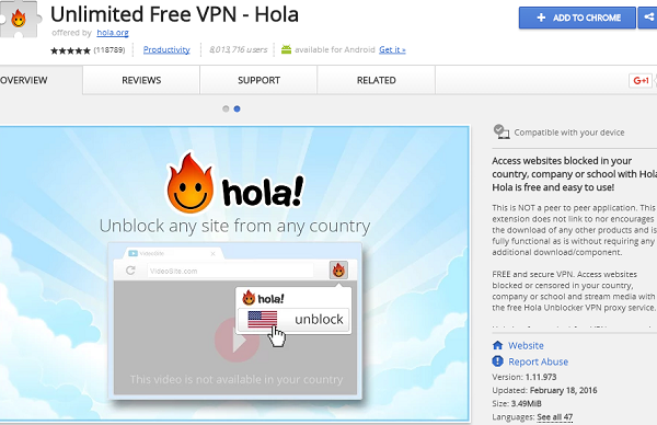 unlimited free vpn hola best chrome extension