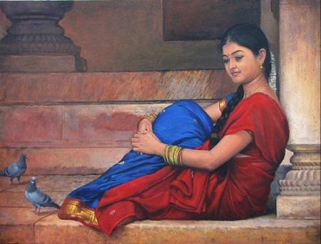 indian village girl image